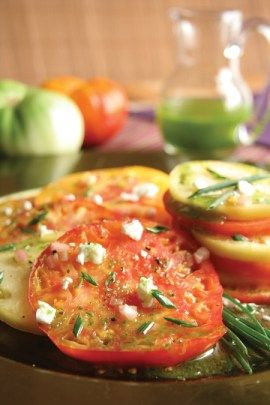 Tomatoes With Chive Oil Tomato Cucumber Tomato 640 x 480