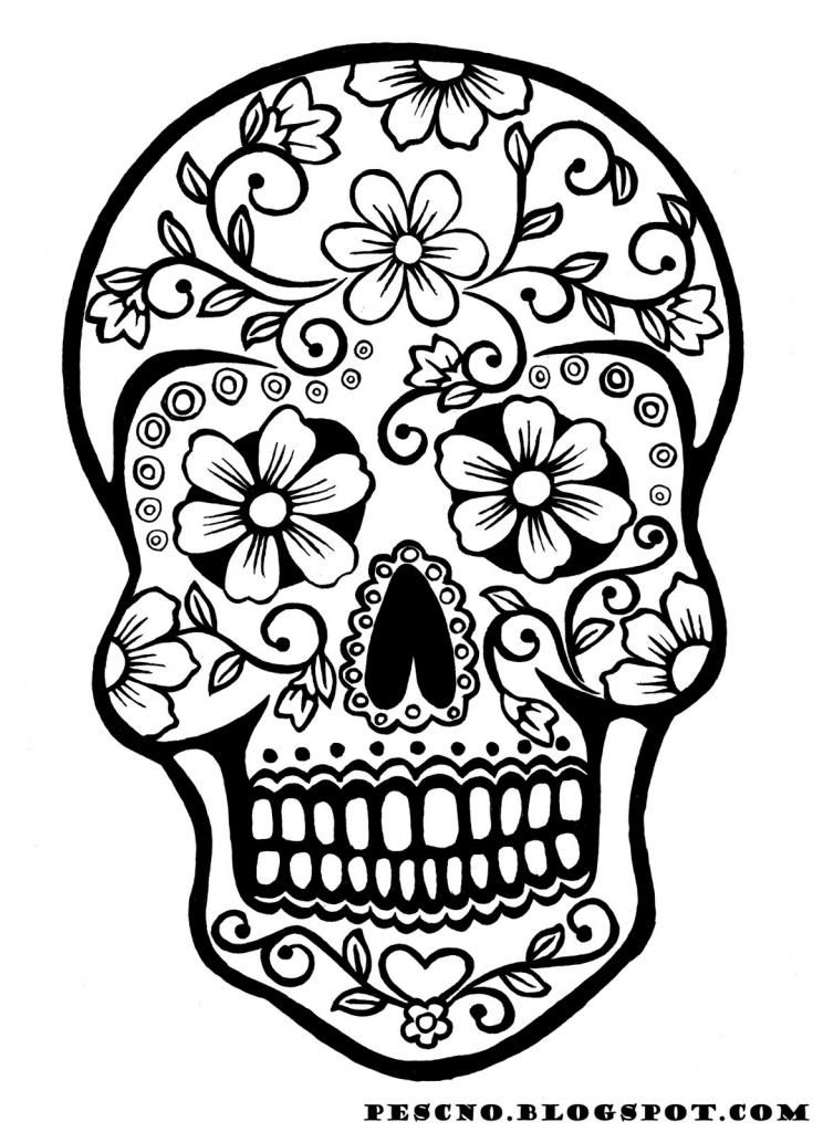 Free halloween printable day of the dead skull coloring page