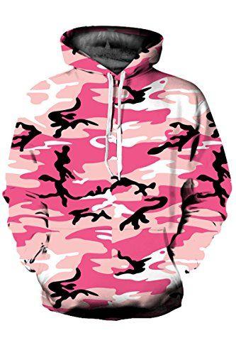 fdb946e1a4591 Mulisky Unisex Print Big Pockets Drawstring Hoodie Sweatshirt Pink  Camouflage XXL