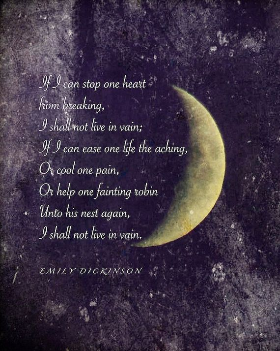 Emily Dickinson poem, Crescent Moon photograph with quotation ...