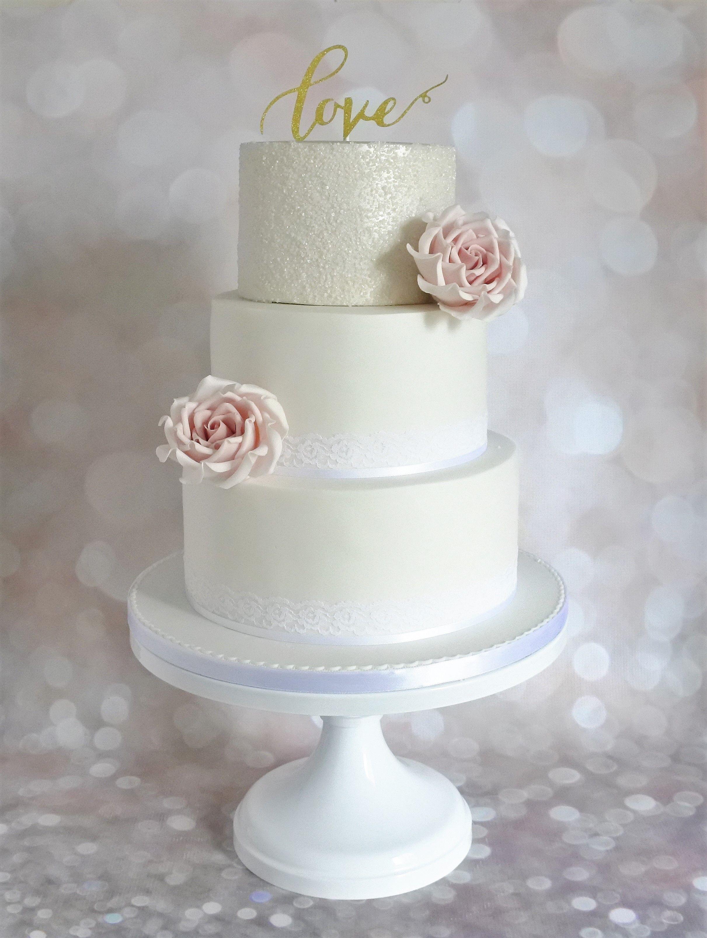 Wedding Cake with Sugar Crystals and Large Blush Pink Sugar Roses ...