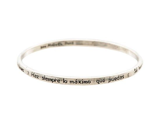 Los Cuatro Acuerdos Reminder Bangle in Spanish in Sterling Silver