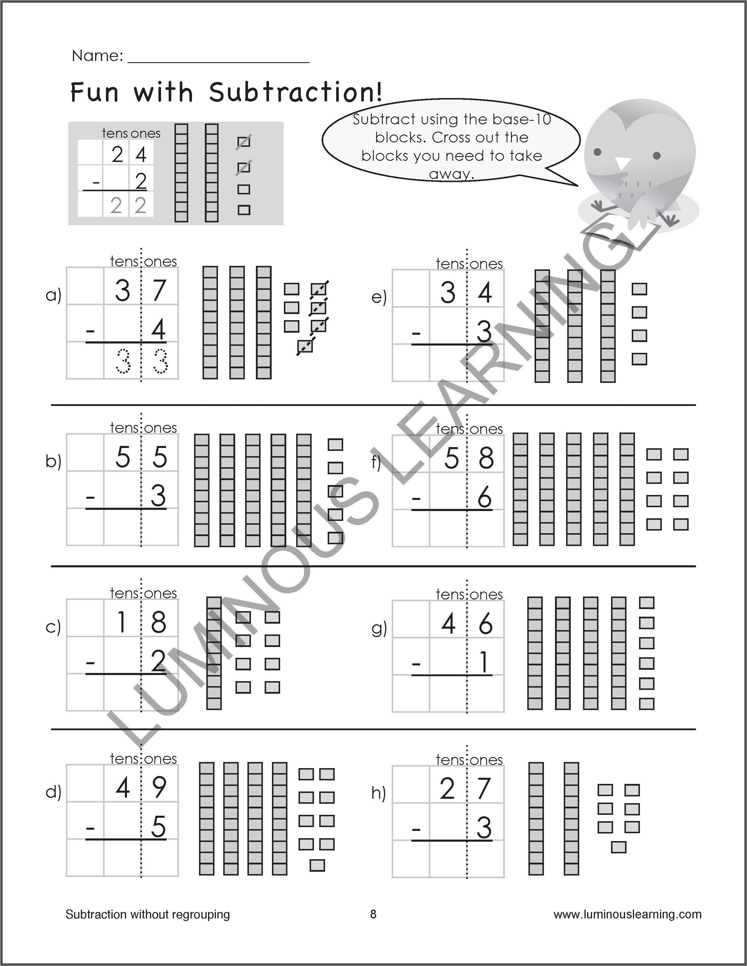 Pin On Products Subtraction worksheets on graph paper