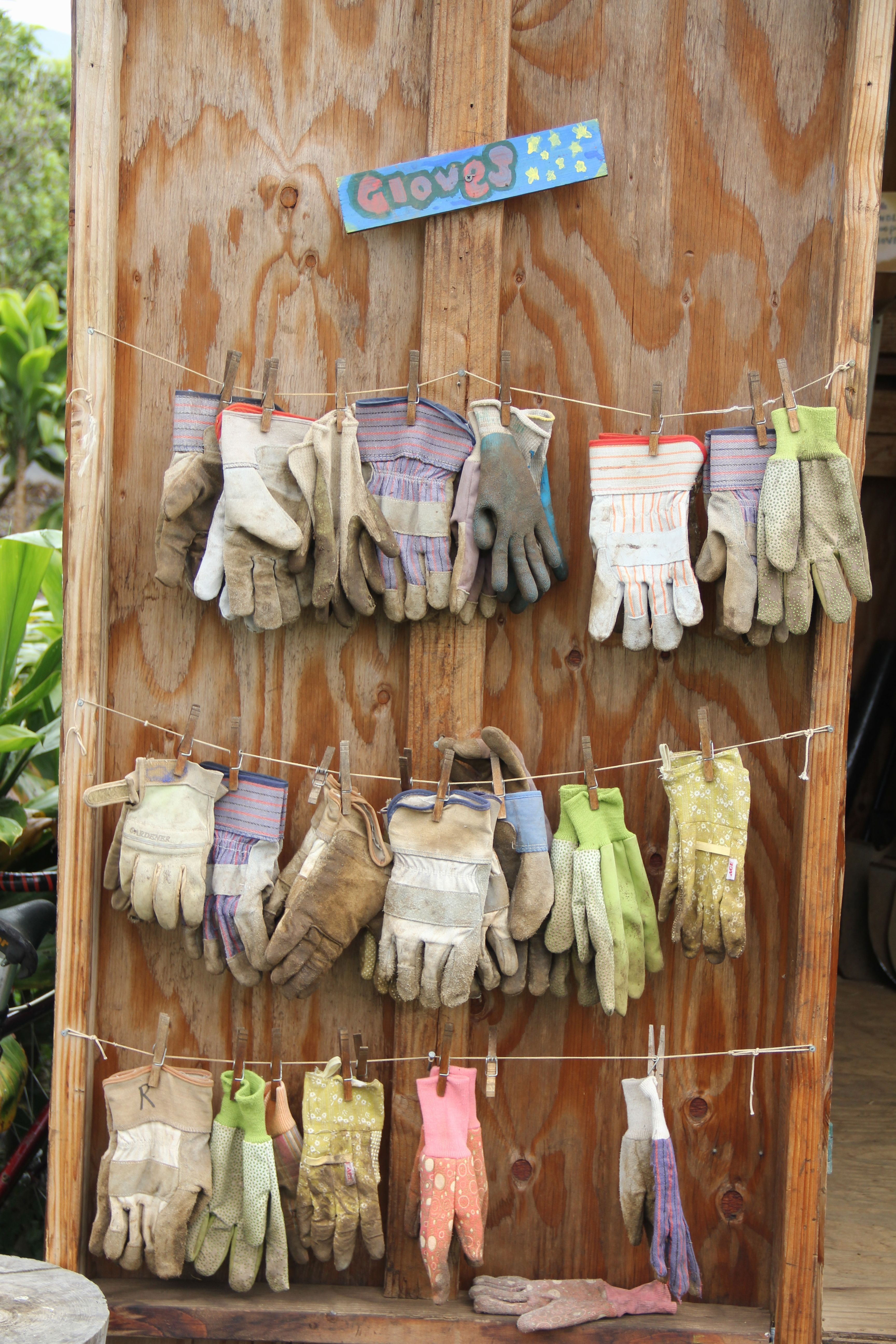 Great idea for drying/organizing gloves for a school garden ...
