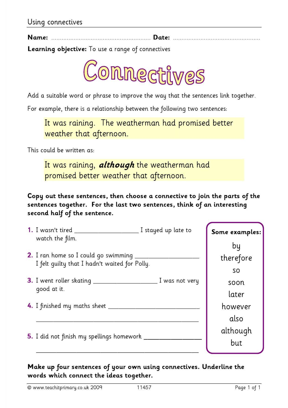 connective worksheet ks2 Google Search Conjunctions