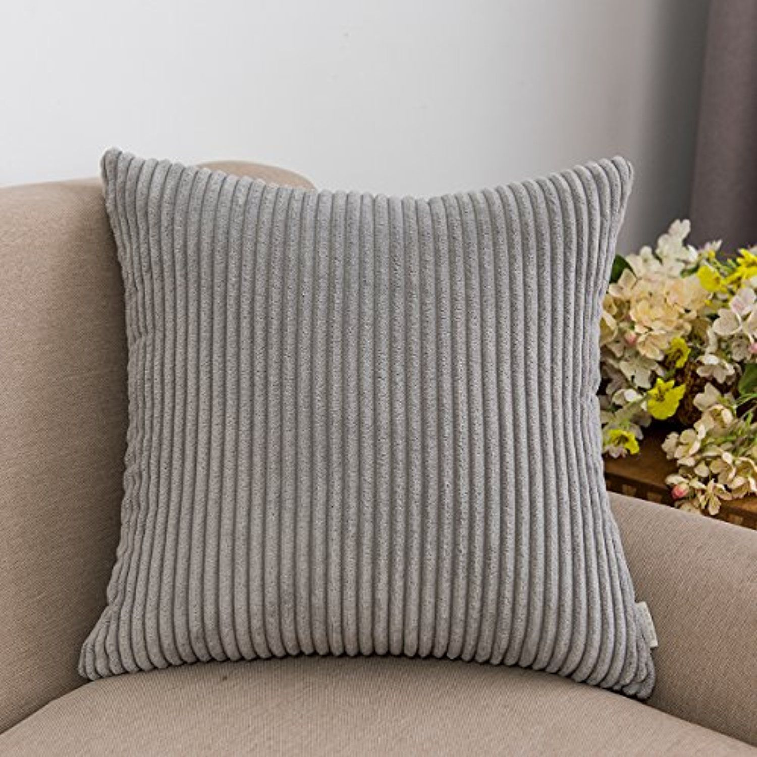 Jeanerlor Soft Corduroy Plush Velvet Decorative Striped Throw Pillow Case