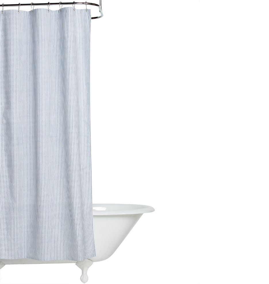 Blue Ticking Shower Curtain On Sale 39 Perfect Cloth Shower