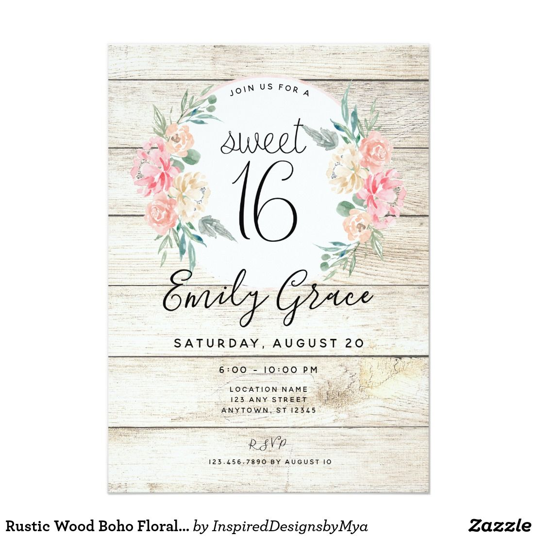 Rustic Wood Boho Floral Sweet 16 Birthday Invite | Zazzle.com #sweet16birthdayparty