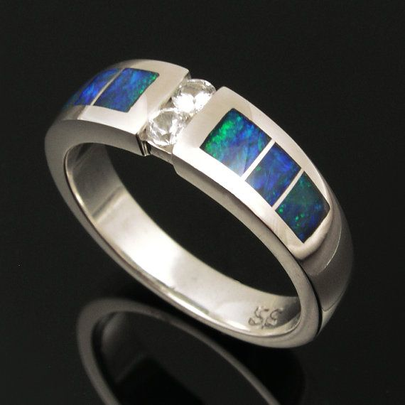 Australian Opal and White Sapphire Sterling Silver Ring
