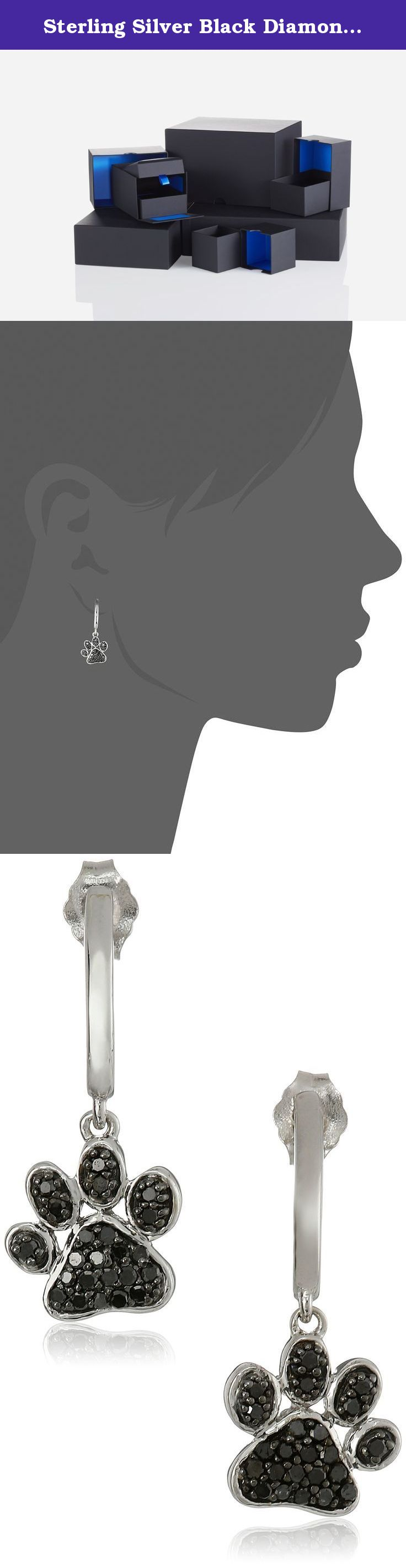 Sterling Silver Black Diamond Dog Paw Earrings (3/8 cttw). The Sterling Silver Black Diamond Dog Paw Earrings are an ideal gift for the classy, confident dog lover. The 925 sterling silver hoop earrings feature a shiny smooth finish that is sure to last and match well with your other favorite pieces. Dangling from each tiny hoop is a sterling silver dog paw charm with pave-set black diamonds of IJ color and I2-I3 clarity. Measuring .45 inches wide and 1.11 inches long, these hoop earrings...