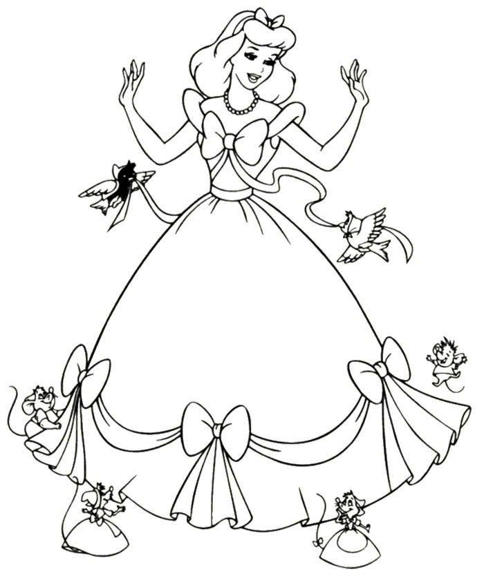 Cinderella Dress Mice Coloring Page Cinderella Coloring Pages Disney Princess Coloring Pages Princess Coloring Pages