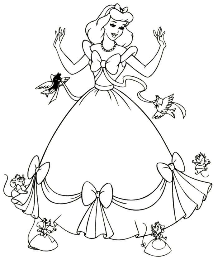 Cinderella Dress Mice Coloring Page Cinderella Coloring Pages