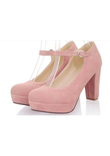 Elegant Pink Chunky Heel with Buckle and Platform Wedding Shoes
