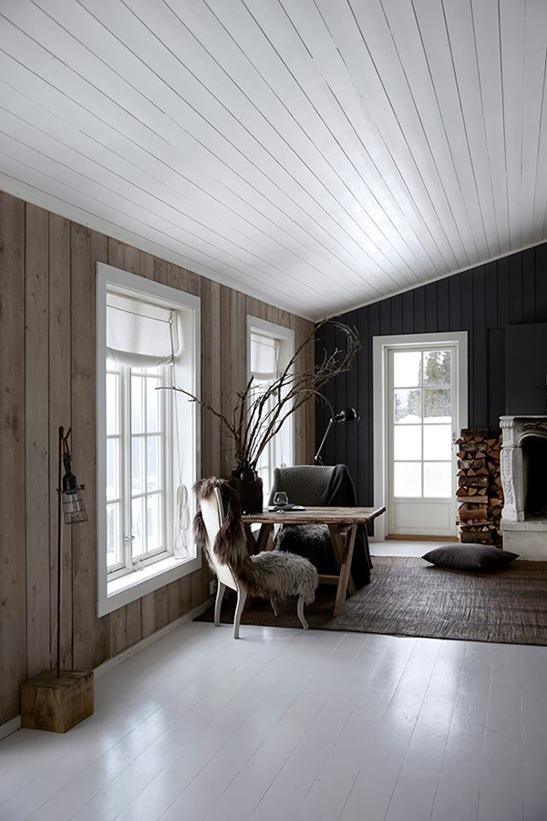 Norwegian cabin with wood and concrete elements