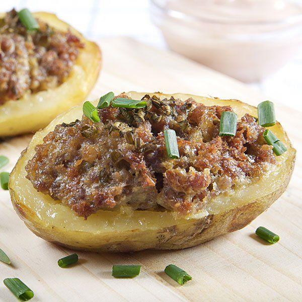 Patatas Rellenas De Carne Picada Y Queso Receta Al Horno Patatas Rellenas De Carne Recetas De Comida Recetas Saludables