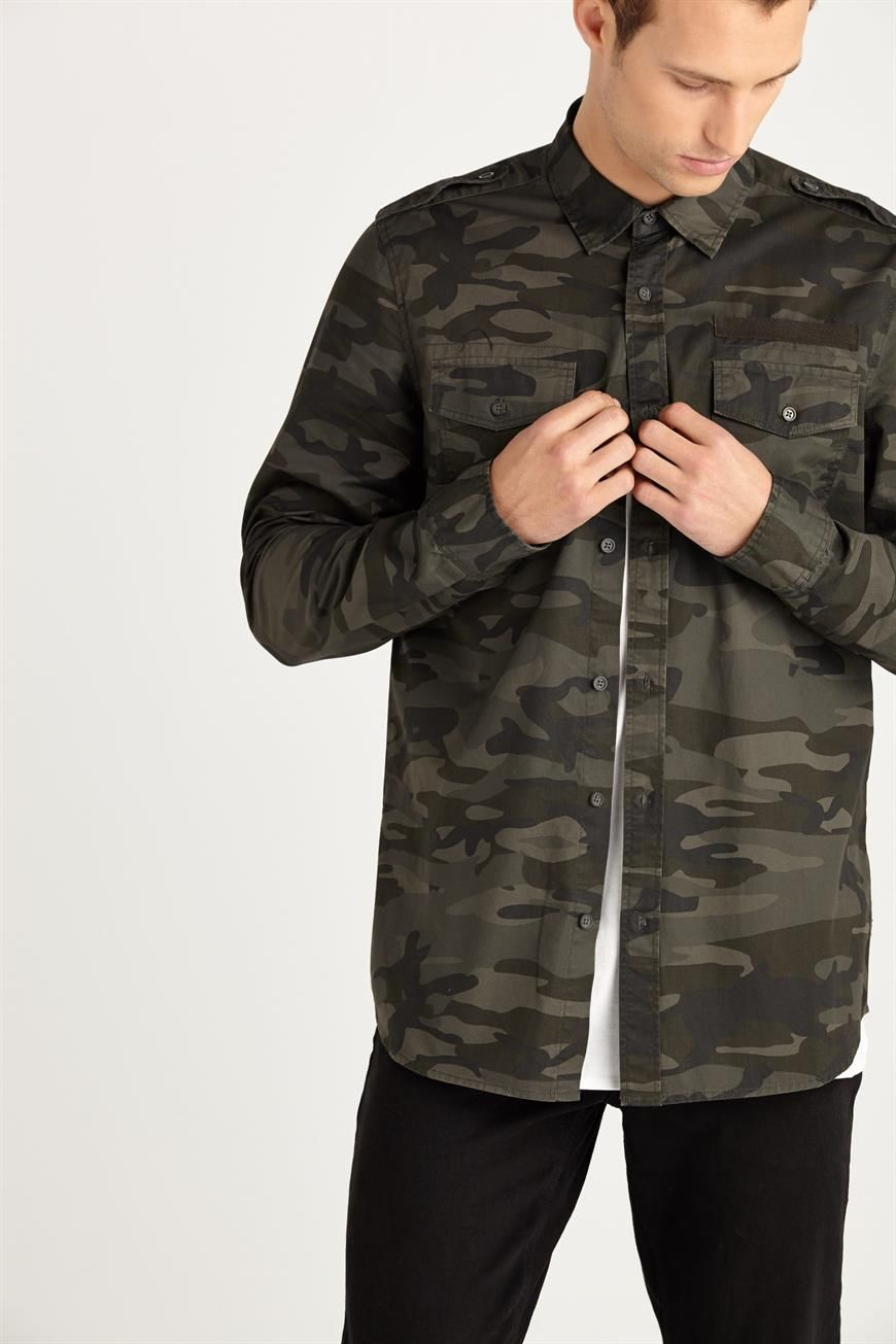 Mens Camo Print Military Long Sleeve Button Up Shirt