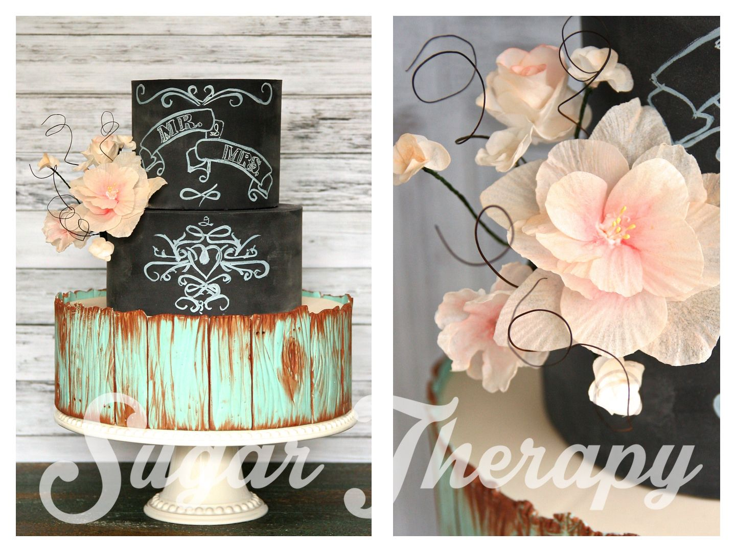 Rustic Teal Wood And Chalkboard Wedding Cake With Edible Hand Made
