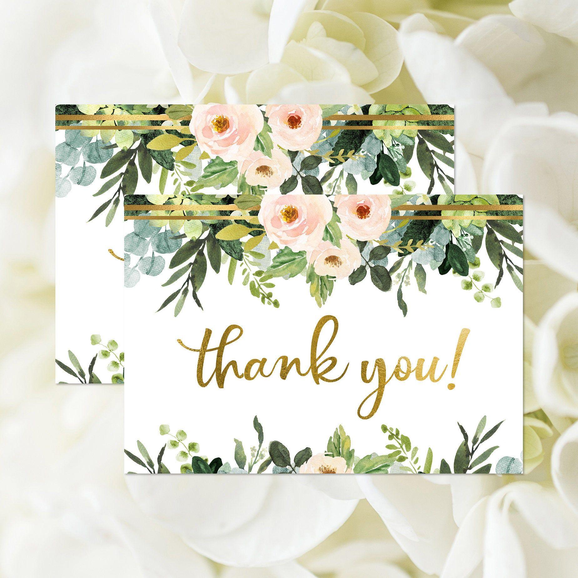 Thank You Card, Printable, Boho Bridal Shower Thank You