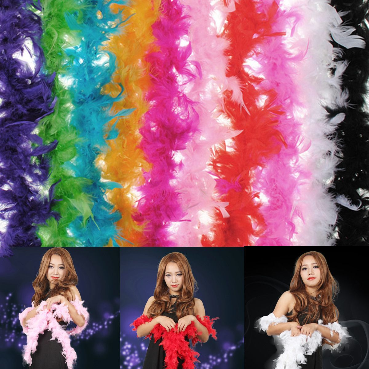 Costume Fluffy Feather Boa Hen Night Party Wedding Dress Up Scarf ...