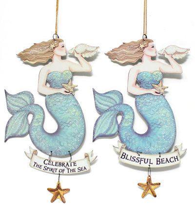 Metal Mermaid Christmas Ornaments  Set of 6 httpwww