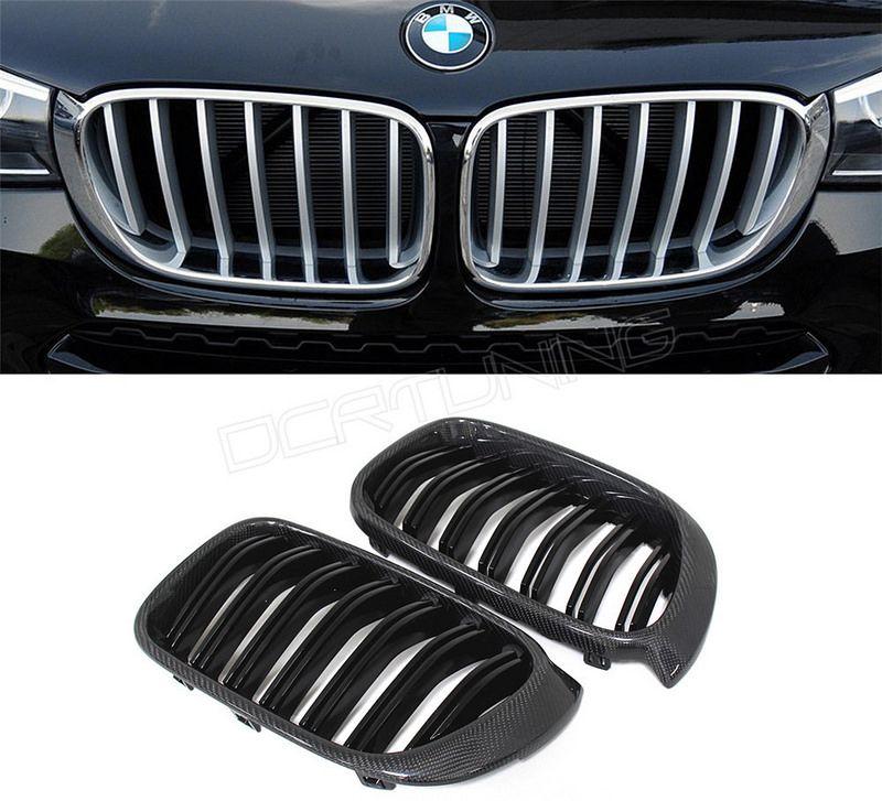 Carbon Fiber Standard Grille Dual Slats For BMW X3 F25 X4 F26 2014 15 Car Type