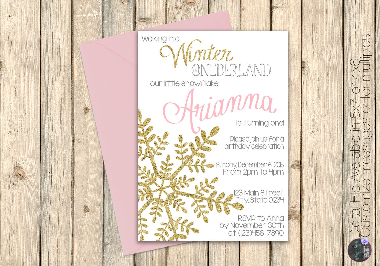 Girl Winter Onederland First Birthday Invitation, Wonderland ...