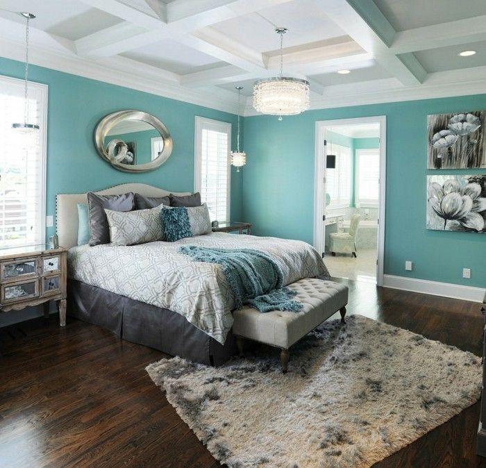 blau-grau-hell-spiegel-schlafzimmer Farben Pinterest - schlafzimmer blau grau