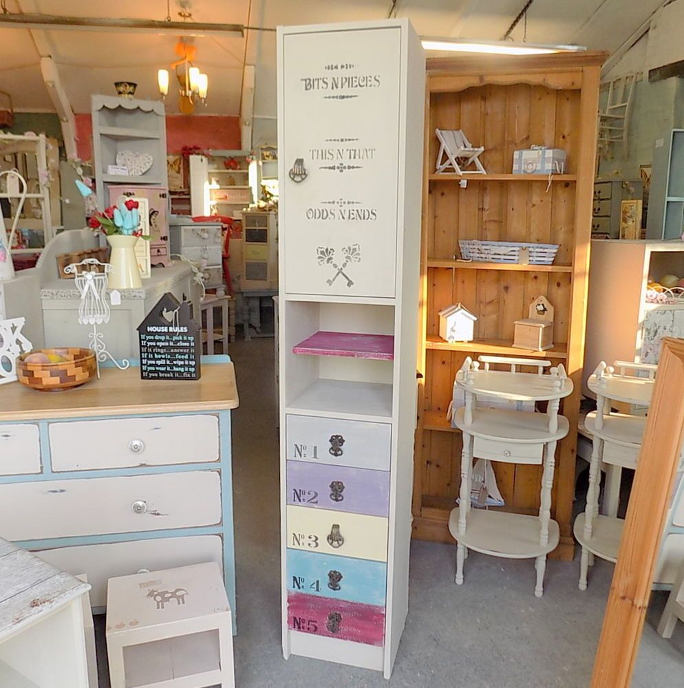 Tall Cabinet With Drawers Painted Shabby Chic Tall Narrow Slim Cabinet Drawers Tallboy
