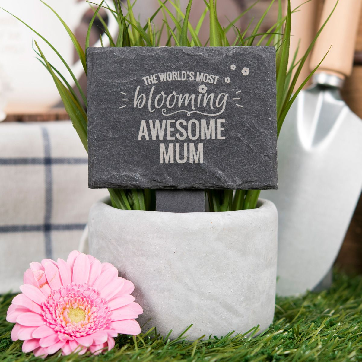 Engraved Slate Plant Marker - World's Most Blooming |GettingPersonal.co.uk