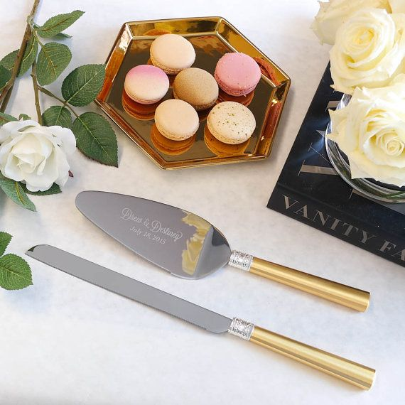 Vera With Love Gold Wedding Cake Knife And Server Set 2 Pc