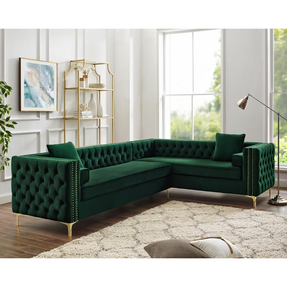 Inspired Home Olivia Hunter Green Silver Gold Velvet Right Facing Corner Sofa With Gold Nailhead Trim Cr01 02hg Hd The Home Depot Corner Sectional Sofa Living Room Furniture Layout Living Room Sofa Design