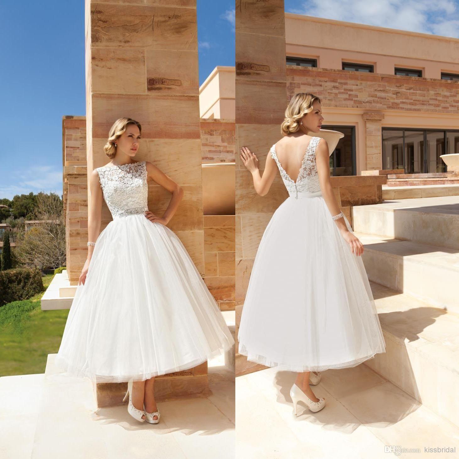 new arrival beach wedding dresses lace appliqued bateau neck