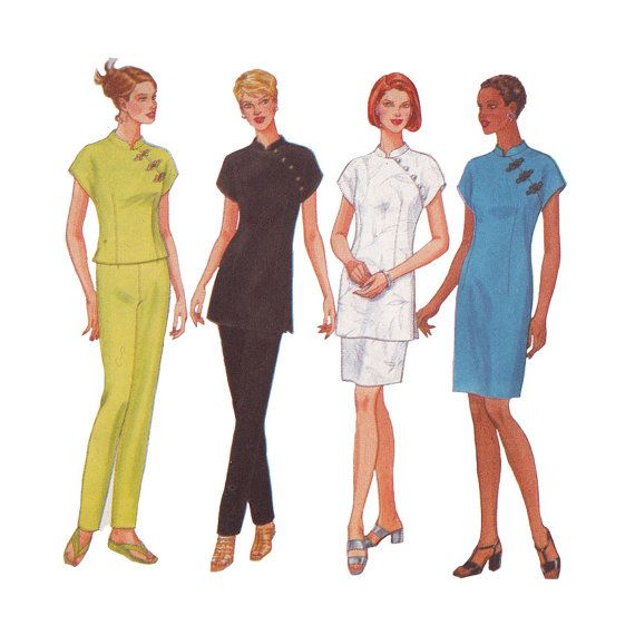 1990s Slim Cheongsam Sheath Dress in Two Lengths & Tunic or Top with ...