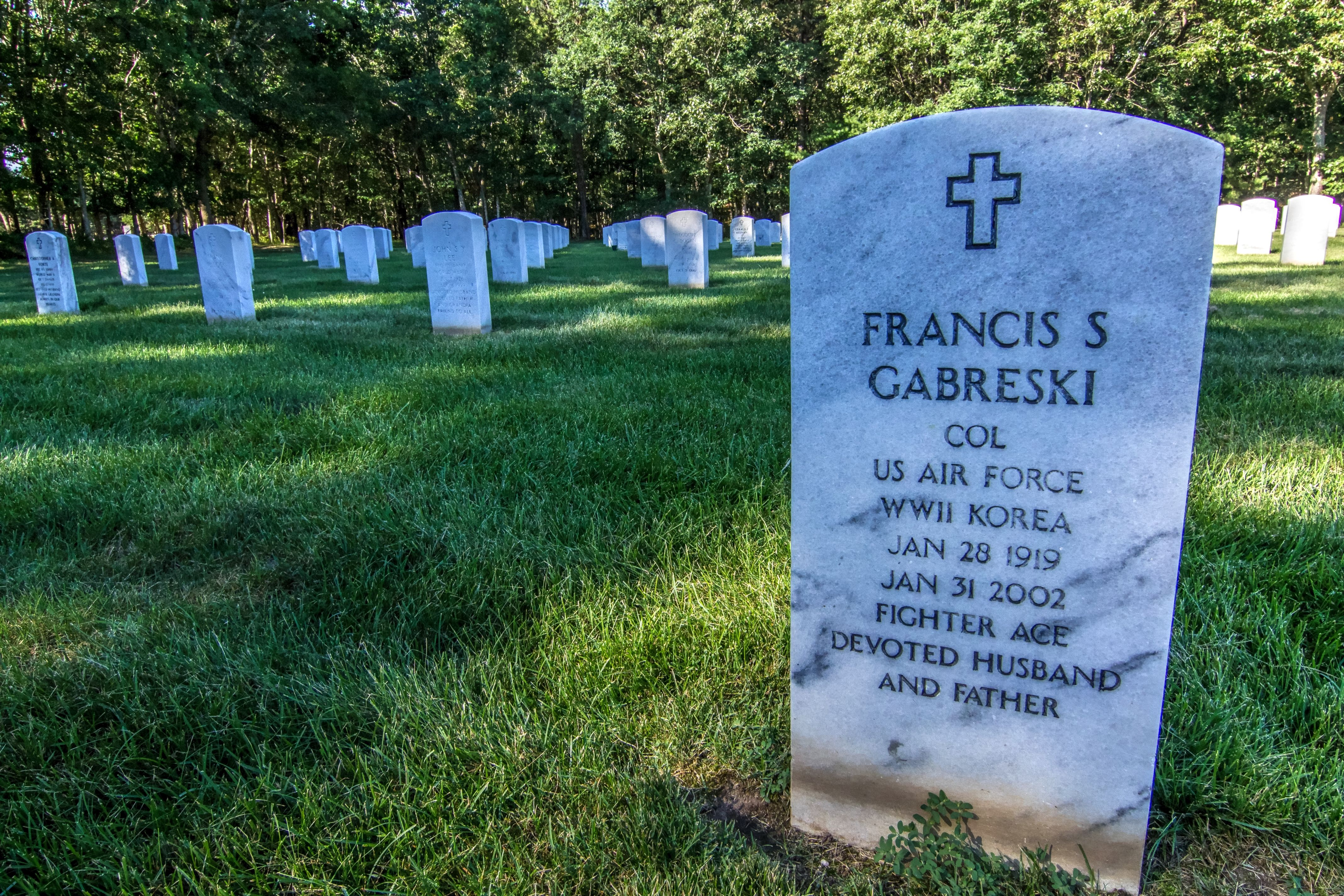 Colonel Francis Gabreski, was the top Air Force ACE in World War II and the Korean War.  Buried in Section 14 (same as my parents) at Calverton National Cemetery, Calverton, NY (07/24/2016)