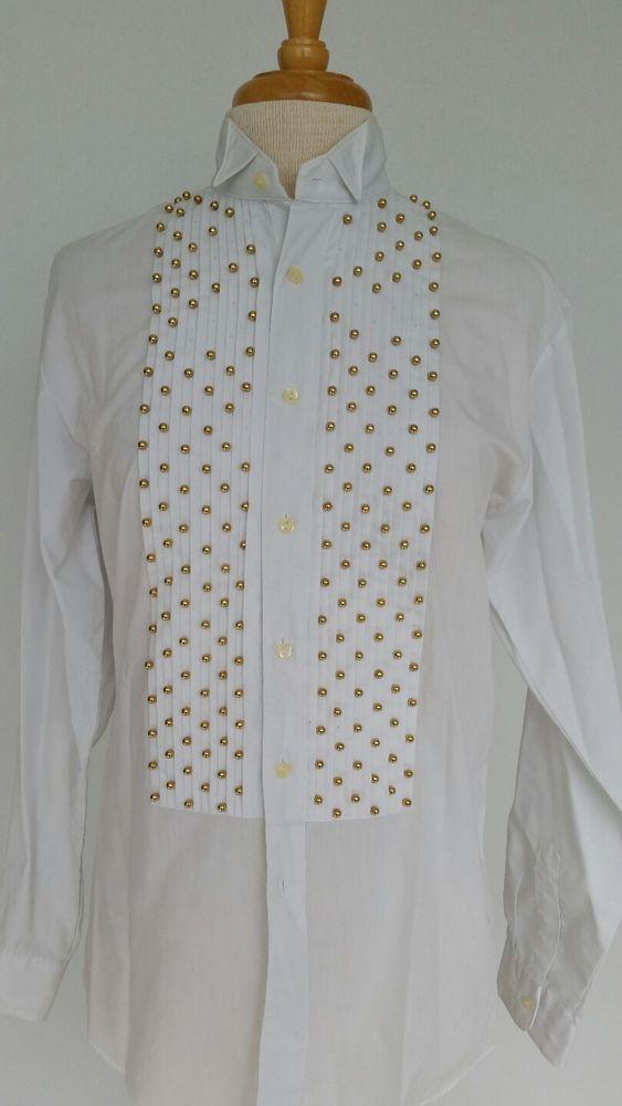 Clodia D White Vtg 80's Women's Tuxedo Shirt Gold Beads Sz S/M Costume Funky #ClodiaD #Formal
