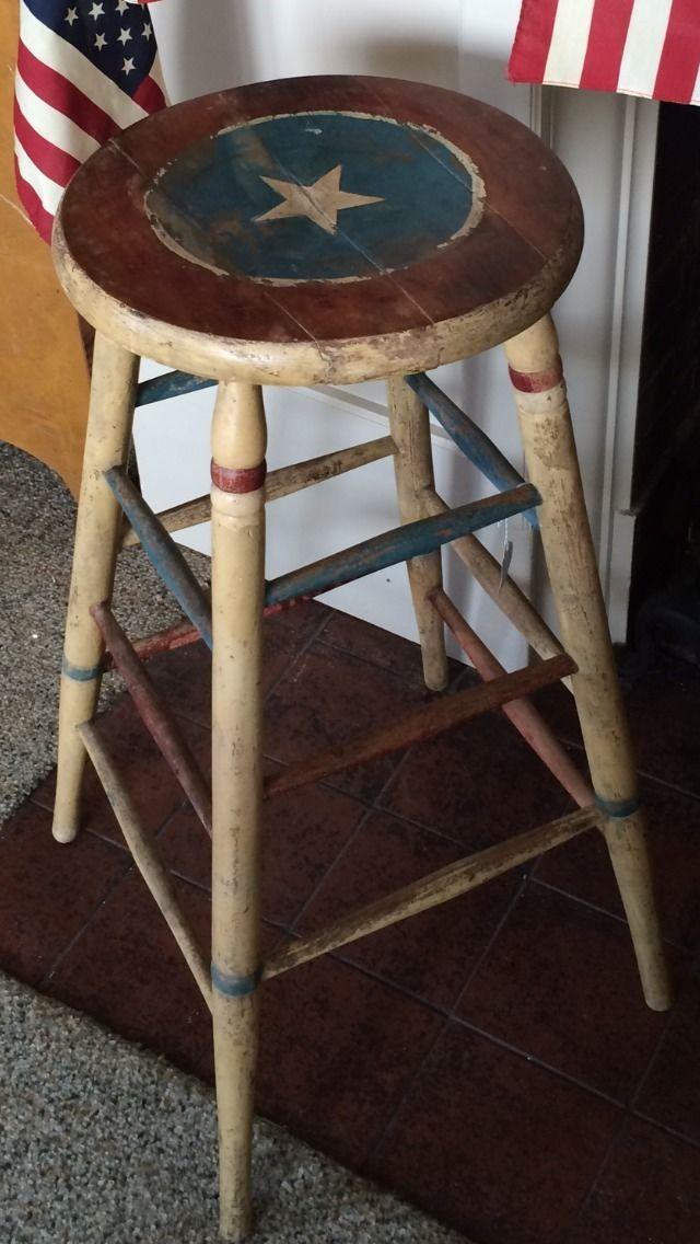 Vintage Antique Patriotic Wood Stool Primitive Red White Blue July 4th Ebay Primitive