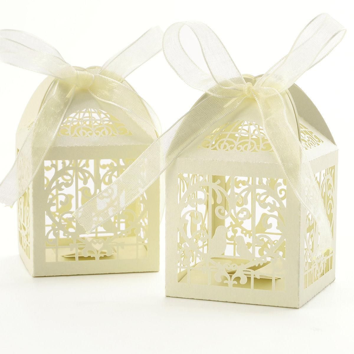 $12.56 AUD - 50 Titanium White Bird Laser Cut Wedding Favor Cake ...