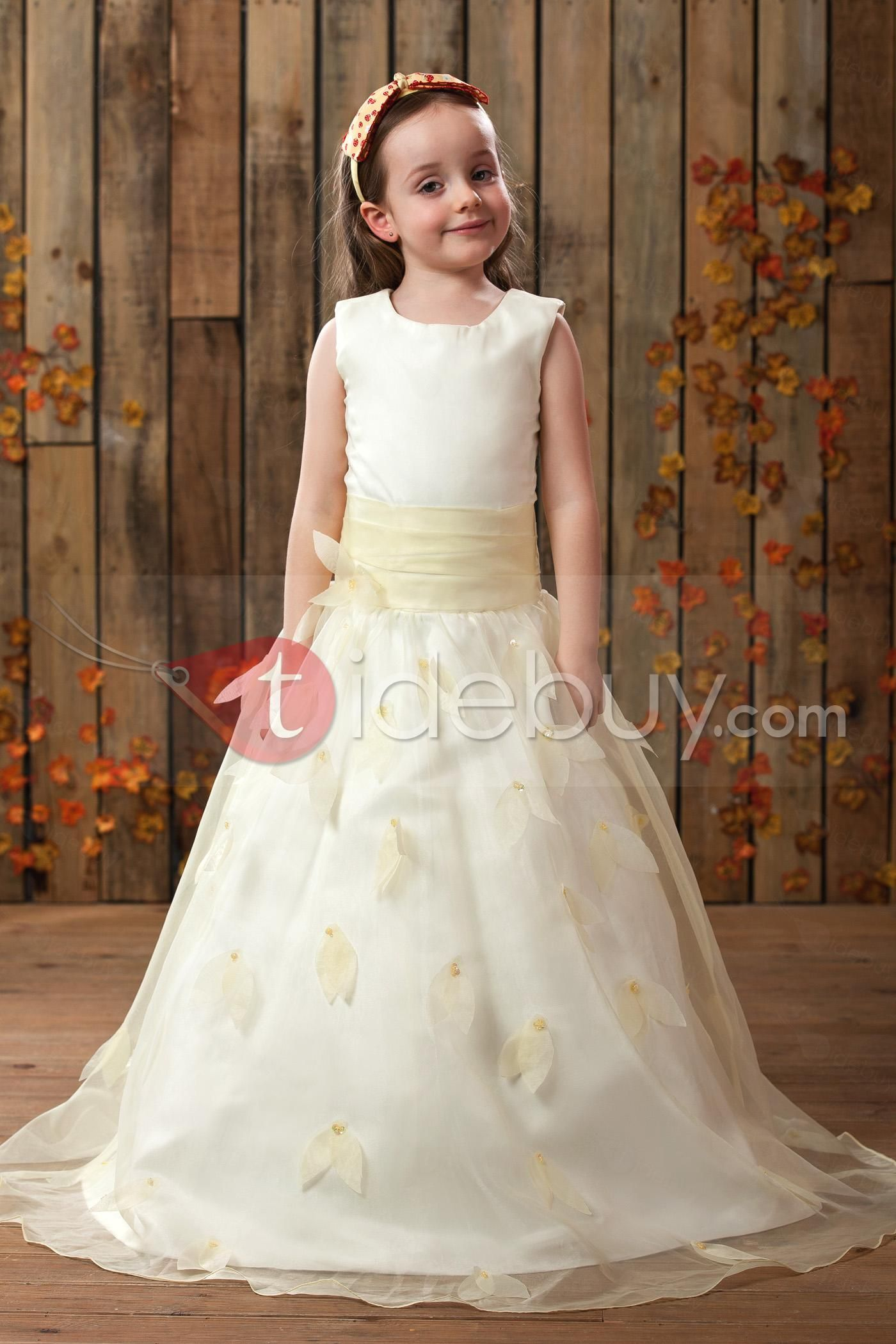 Cute ball gown jewel floorlength pattern flower girl dress