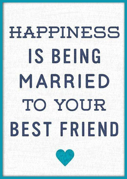 Happiness Is Being Married To Your Best Friend Quote Wall Art
