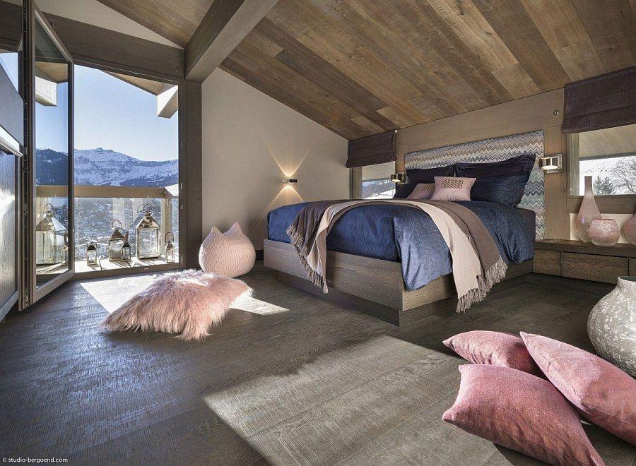 Moderne Einrichtung und Winkelmuster Kopfteil für das Chalet - moderne schlafzimmer einrichtung