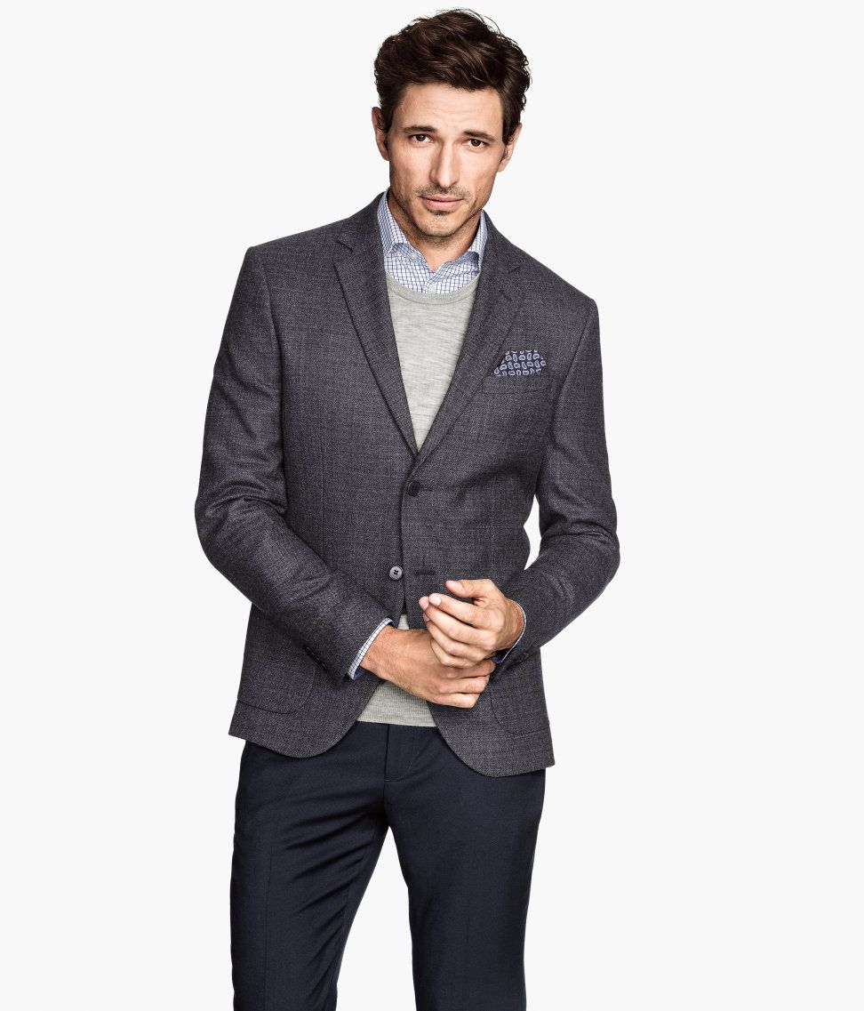 52f3c1f54ad Dress up for date night in this slim-fit dark gray blazer with premium  wool