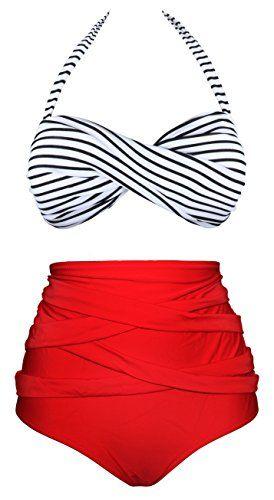 6ca93eed49602 Angerella Women Vintage Polka Dot High Waisted Bathing Suit Bikini Striped  Swimsuit