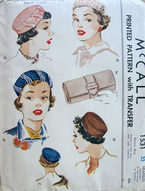 1950s LADIES PILLBOX HATS, BAG PATTERN CLASSY CLUTCH PURSE PERKY STYLES, BEADED VERSION McCALL 1531