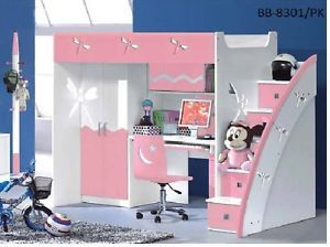 Pink Purple Blue Bunk Bed With Desk And Wardrobe Stairs Position
