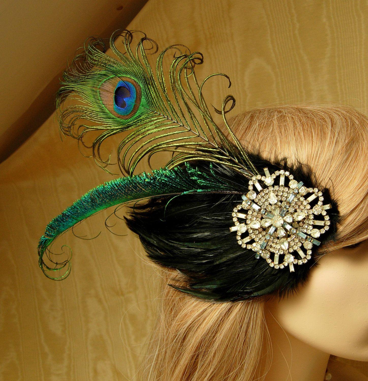 Vintage Peacock Feather Headband Fascinator Wedding Bridal Party Long Ribbon