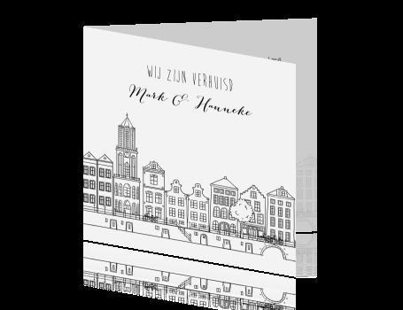 Verhuiskaart getekende stad Utrecht met grachtenpanden
