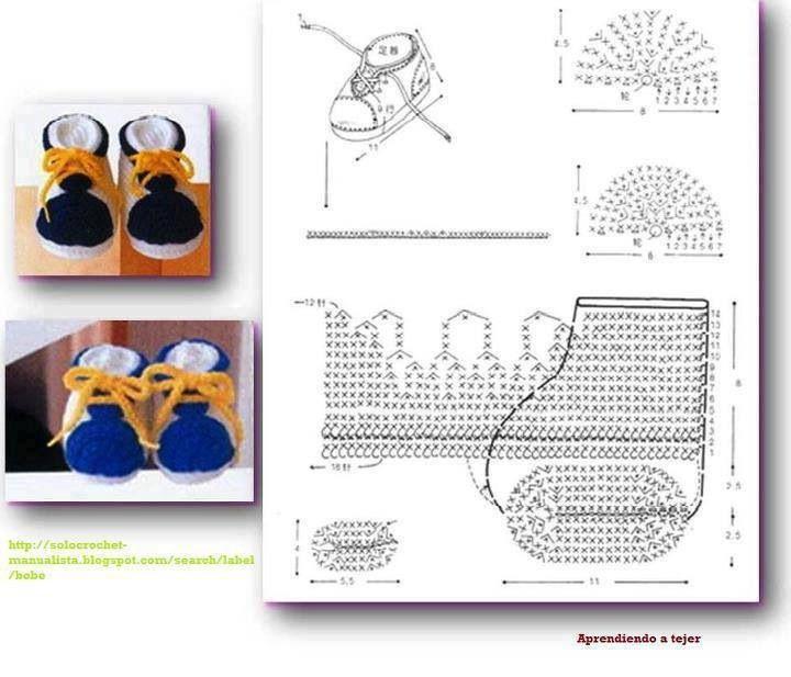 Zapatines   Uncinetto   Pinterest   Botas, Ganchillo crochet y Ganchillo