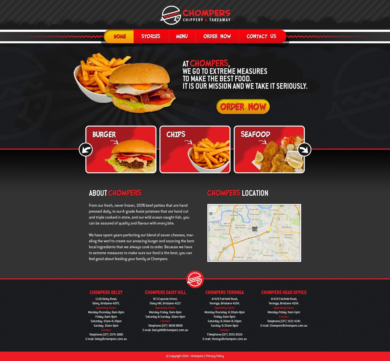 Website for Fish, Chips and Burger