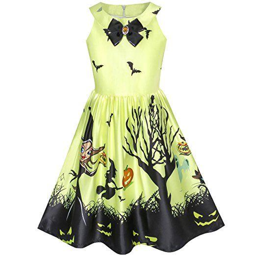 Mädchen Kleid Halloween Witch Schläger Kürbis Kostüm Halfter Kleiden ...
