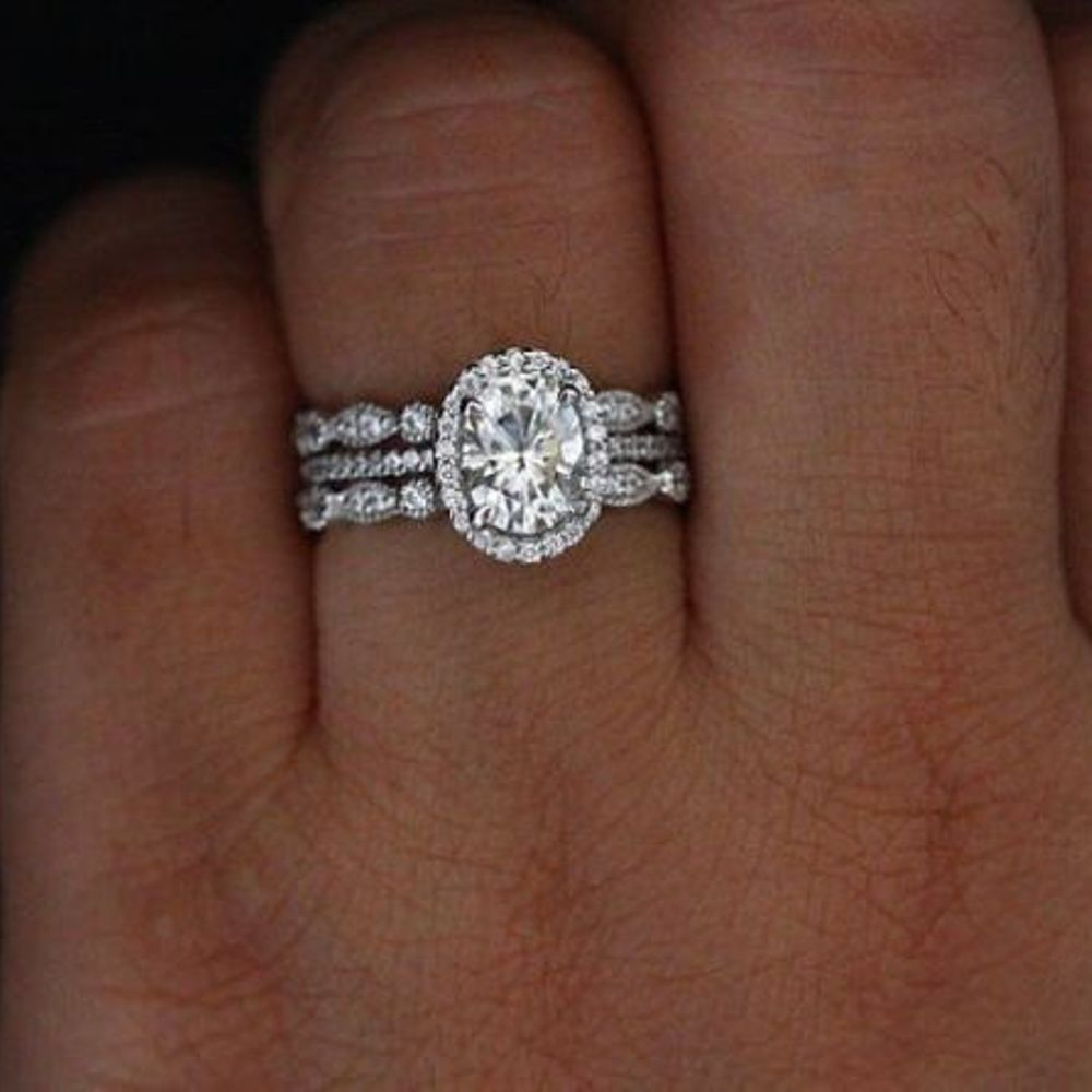 ct white oval diamond row engagement ring size solid
